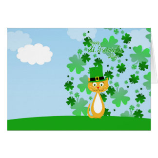 Cute animated St. Patrick's Day Cat Note Card