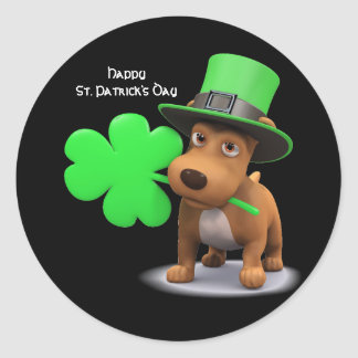 Cute animated St. Patrick's Day Dog Classic Round Sticker