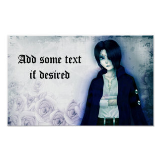 Cute anime emo boy poster for your own text