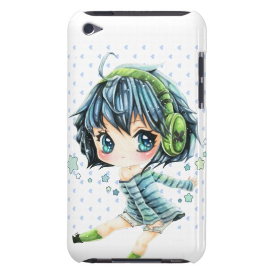 Cute Anime Girl With Green Headphone Ipod Touch Cover Zazzleca
