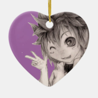 Cute Anime Guy, Original Drawing Ceramic Heart Ornament