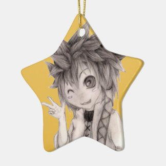 Cute Anime Guy, Original Drawing Ceramic Star Ornament
