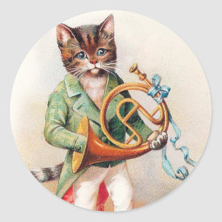 Cute Anthropomorphic Cat with French Horn Classic Round Sticker