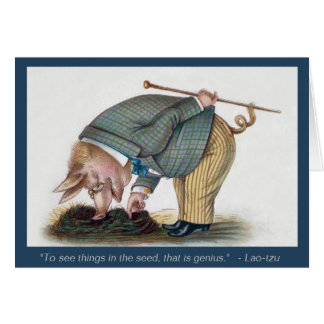 Cute Anthropomorphic Pig - Vintage Art Card