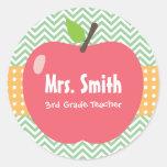 Cute Apple Chevron Stripes Teacher Stickers