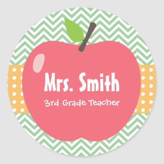 Cute Apple Chevron Stripes Teacher Stickers