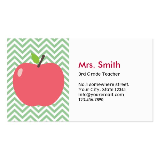 Cute Apple Green Chevron Teacher Business Card