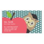 Cute Apple & Owl School Teacher Business Card