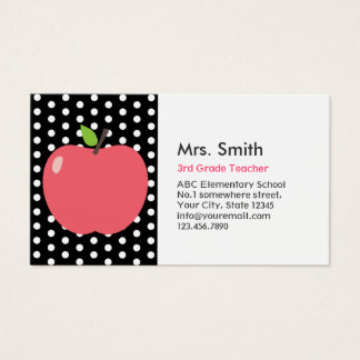 Cute Apple Polka Dots Teacher Business Card