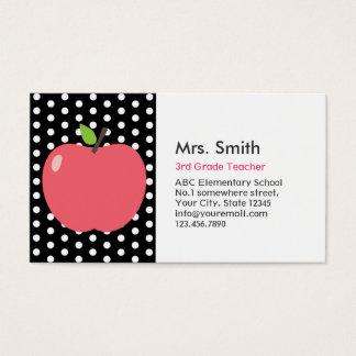 Cute Apple Polka Dots Teacher Business Card