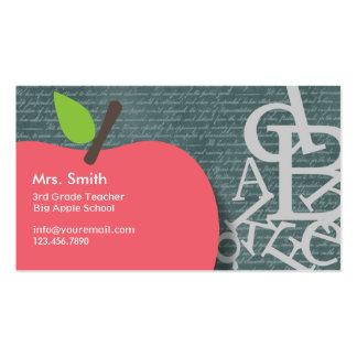 Cute Apple Scripts & Chalkboard School Teacher Business Card