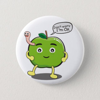 cute Apple With cute worm 2 Inch Round Button