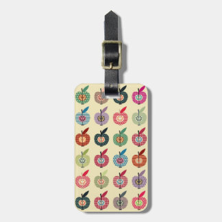 Cute Apples in Retro Style Luggage Tag