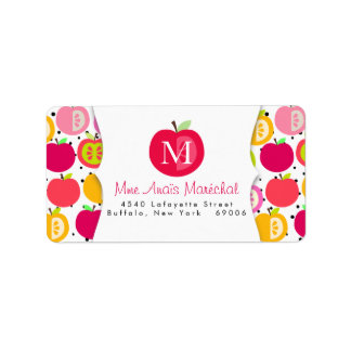 Cute Apples Pattern Teachers Kids Personalized Label