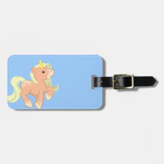 Cute Apricot Unicorn Luggage Tag