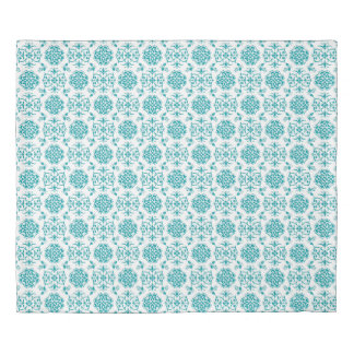 Cute Aqua and White Damask Pattern Duvet Cover