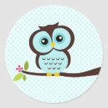 Cute Aqua Owl Round Sticker