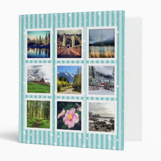 Cute Aqua Stripes Photo Portfolio Binder