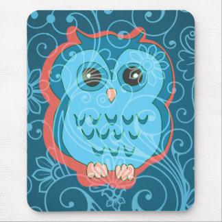 Cute Aqua Teal Owl Retro Floral Background Mouse Pads