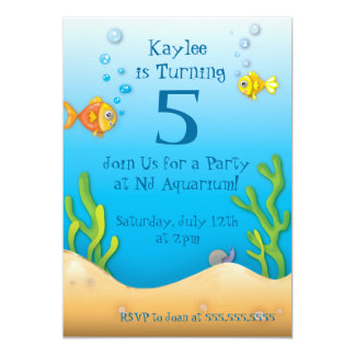 cute aquarium fishy birthday party card