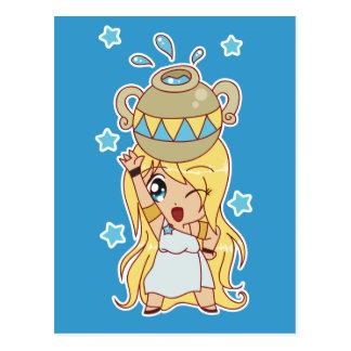 Cute Aquarius Girl Postcard