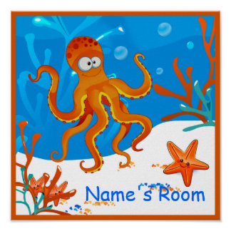 Cute Aquatic Octopi Custom Kids Room Poster