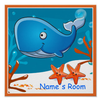Cute Aquatic Whale Custom Kids Room Poster