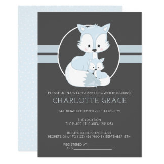 Cute Arctic Fox Personalized Baby Shower Card