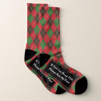 Cute Argyle Please Rub My Feet Pattern Socks