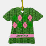 Cute Argyle Sweater Shirt Ornament