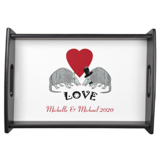 Cute Armadillo Couple in Love Serving Tray