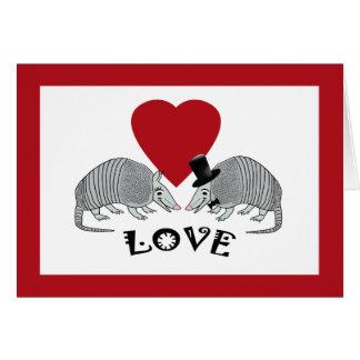 Cute Armadillo Heart Love Cards