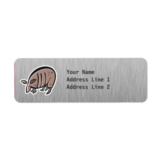 Cute Armadillo; Metal-look Return Address Label