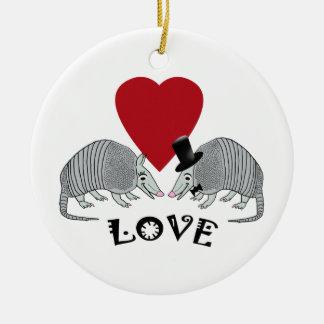 Cute Armadillos in Love Round Ceramic Ornament