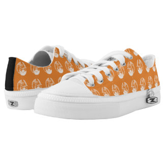 Cute Art Deco Witch Full Moon Owl Jack O Lantern Low-Top Sneakers