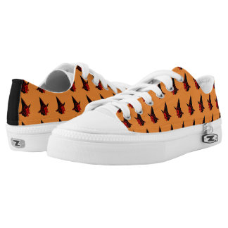 Cute Art Deco Witch Orange Low-Top Sneakers