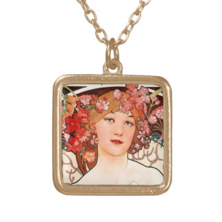 Cute art nouveau girl with flowers gold plated necklace