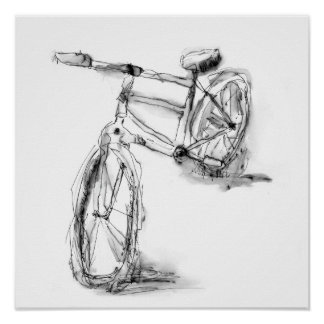 Cute Artistic Bike Drawing Poster
