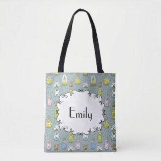 Cute Artsy Pastel Mason Jar Flowers Monogram Tote Bag
