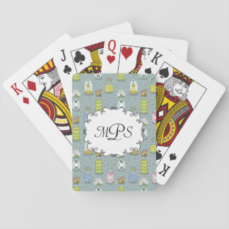 Cute Artsy Pastel Mason Jar Monogram Playing Cards