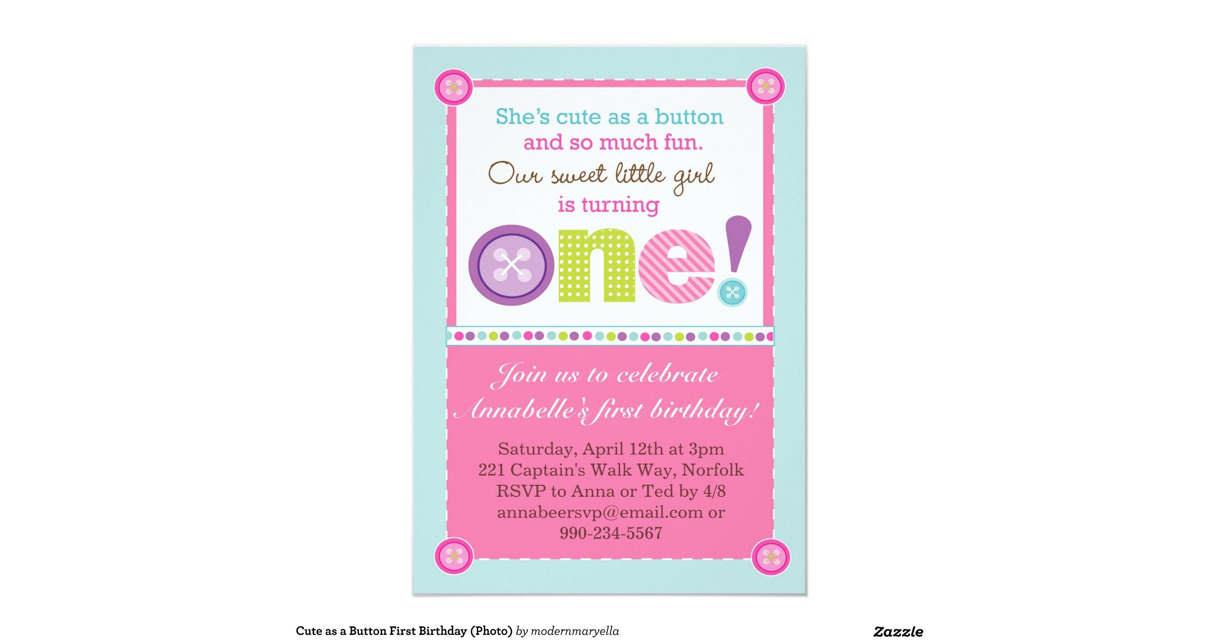 as a button 1st birthday invitations zazzle - birthday invitations ...