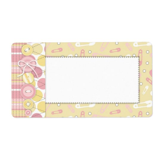 Cute as a Button Girl Name Tag Shipping Label