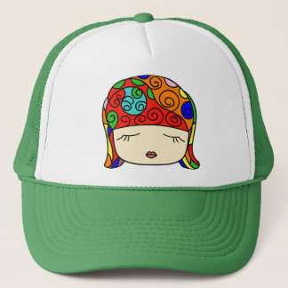 Cute as a Button Sleepy Head Girl Trucker Hat
