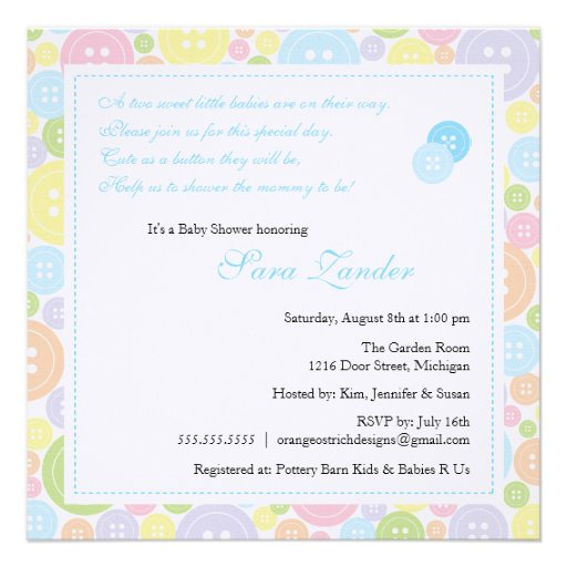 Cute as a Button Twin Boys Baby Shower Invitation