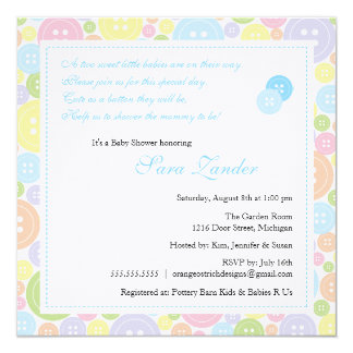 "Cute as a Button Twin Boys Baby Shower Invitation 5.25"" Square Invitation Card"
