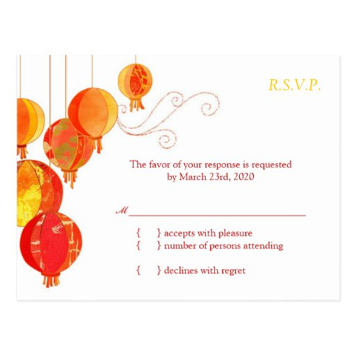 Cute Asian Paper Lanterns Wedding RSVP (4.25x5.6) Post Card