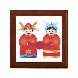 Cute Asian Wedding Couple Giftbox Jewelry Boxes