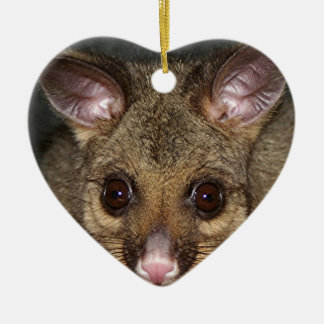 Cute Australian possum Ceramic Heart Ornament