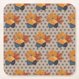 Cute Autumn Acorn Patterns Square Paper Coaster