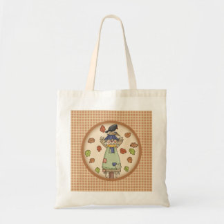 Cute Autumn Country Scarecrow on Tan Plaid Pattern Tote Bag